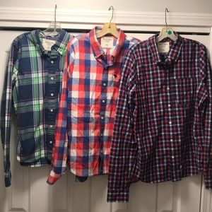 Lot of 3 Abercrombie & Fitch XXL Button up Shirt